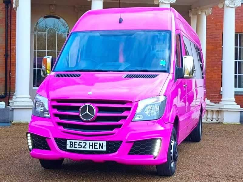 Mercedes pink party bus hire exterior