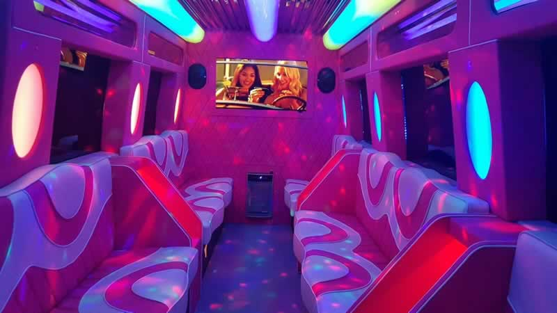 Mercedes party bus hire pink interior