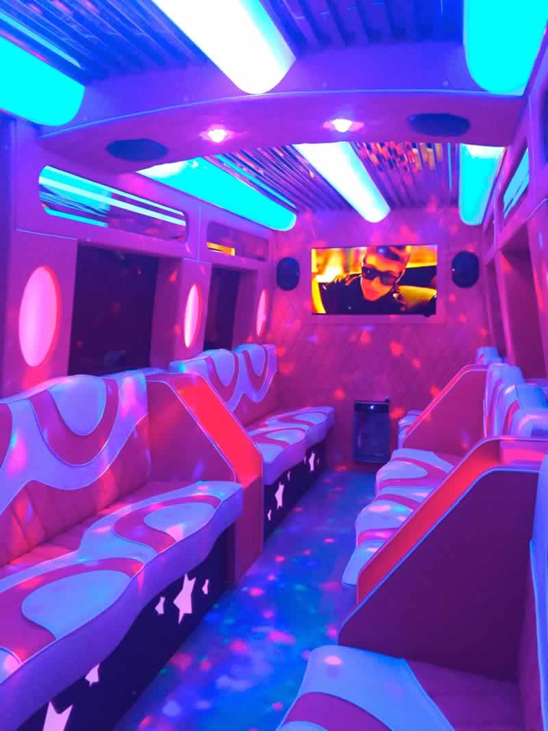 Mercedes pink party bus interior