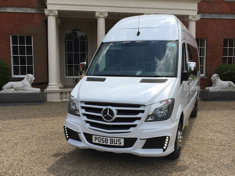White Mercedes Party Bus hire